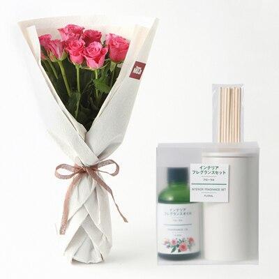 【ネット限定】インテリアフレグランスとお花のセット フェアトレードバラ ピンク 10本