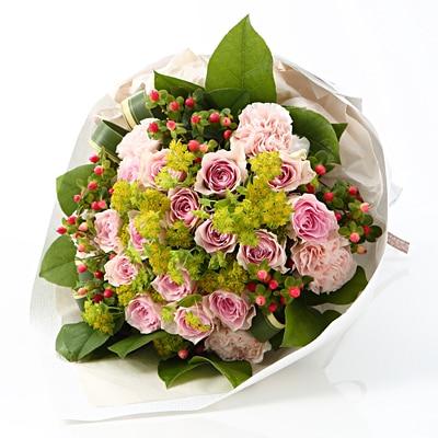 【ネット限定】ピンクのバラのブーケ L