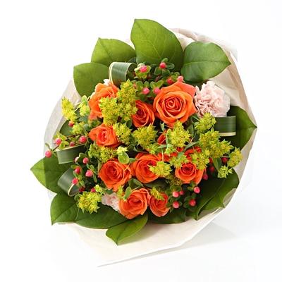 【ネット限定】オレンジのバラのブーケ M