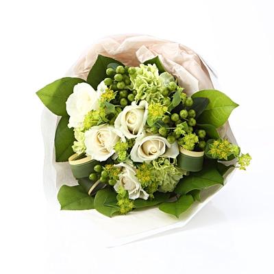 【ネット限定】白いバラのブーケ S