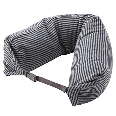 フィットするネッククッション ネイビー×グレー・約16.5×67cm