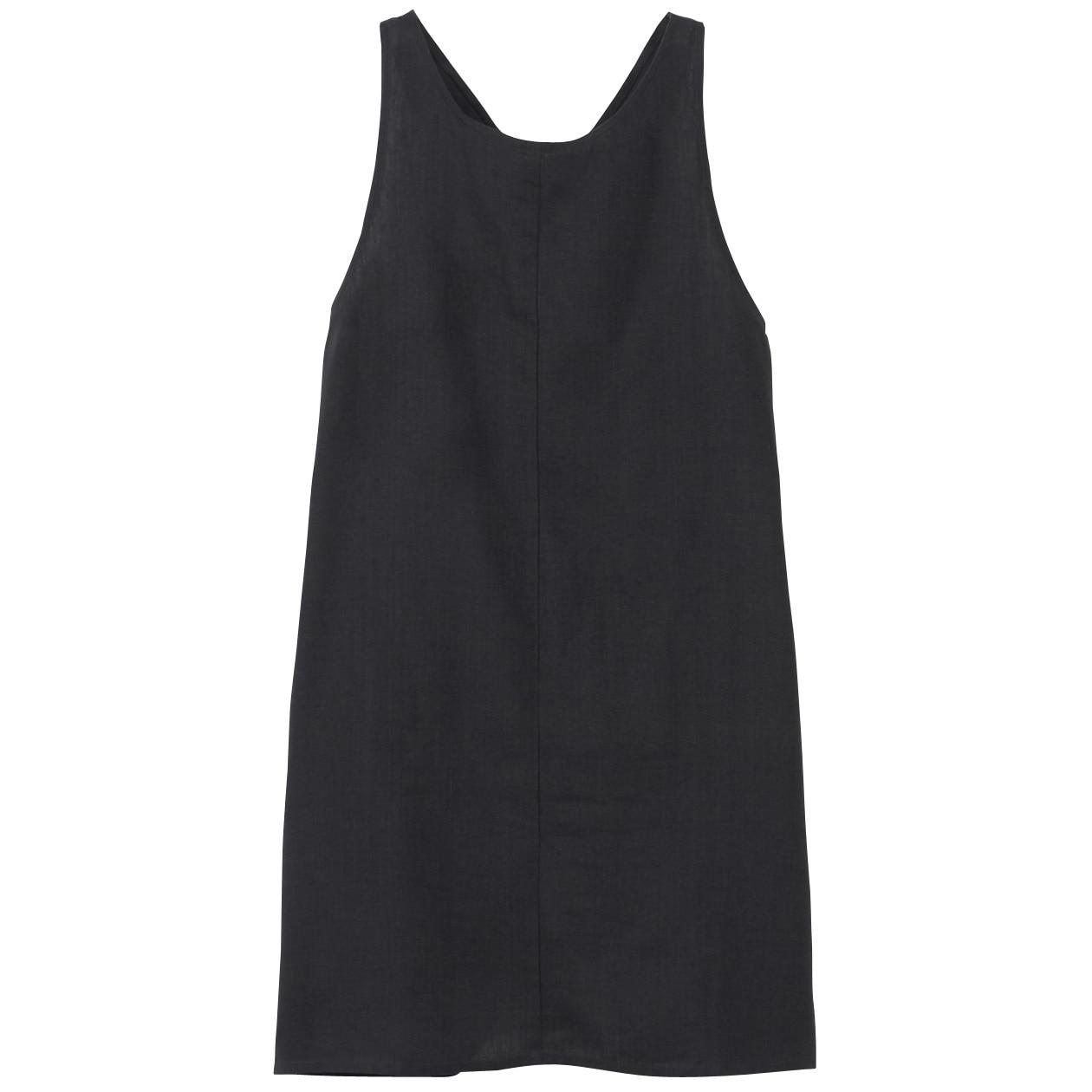 麻平織 エプロン 墨黒 ワンピース仕様・身丈約81cm・巾着付
