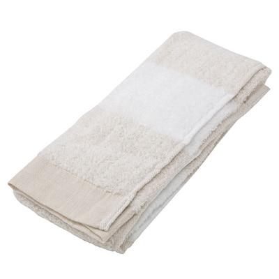 エジプト綿ガーゼパイルやわらかフェイスタオル/ベージュボーダー 34×85cm