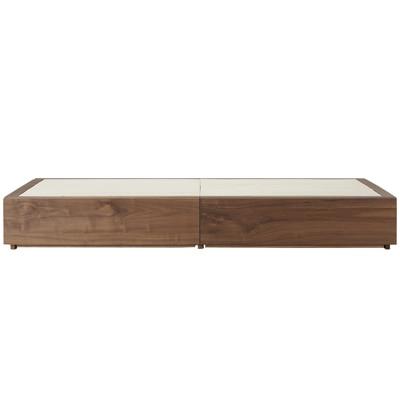 収納ベッド・シングル・ウォールナット材 幅105.5×奥行201×高さ27cm