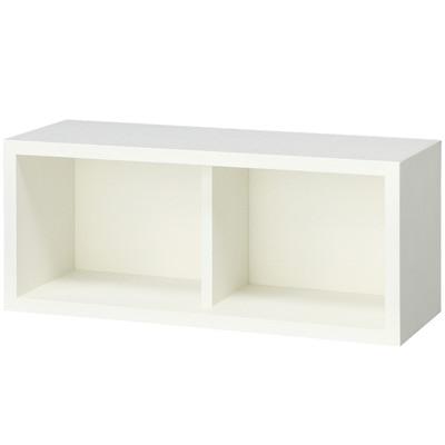 壁に付けられる家具・箱・幅44cm・タモ材/ライトグレー/幅44×奥行15.5×高さ19cmの写真