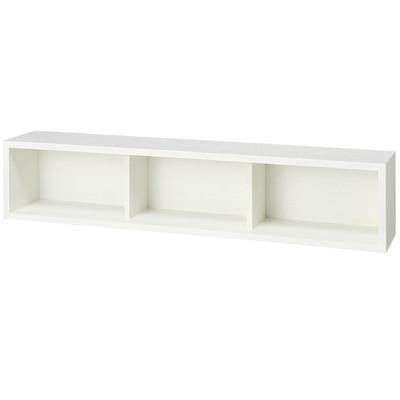 壁に付けられる家具・箱・幅88cm・タモ材/ライトグレー/幅88×奥行15.5×高さ19cmの写真