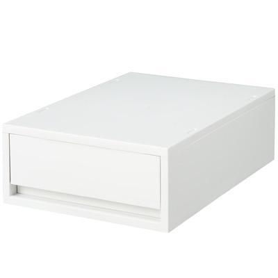 【店舗限定】ポリプロピレンケース・引出式・浅型・ホワイトグレー (V)約幅26×奥行37×高さ12cm