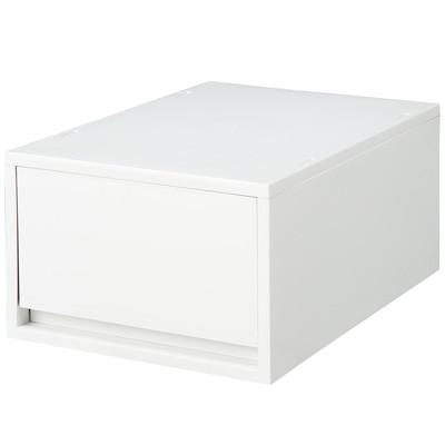 【店舗限定】ポリプロピレンケース・引出式・深型・ホワイトグレー (V)約幅26×奥37×高17.5cm