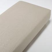 麻平織ボックスシーツ・SD/生成/120×200×18~28cm用の商品画像