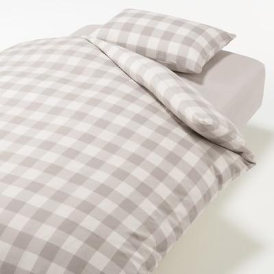 ふとんカバーセット/ベージュ/チェック ベッド用 シングルサイズセット