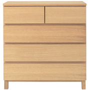 Oak Chest 4 Drawer Wide