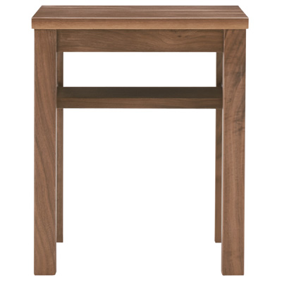 無垢材サイドテーブルベンチ・板座・ウォールナット材/幅37×奥行37×高さ44cmの写真