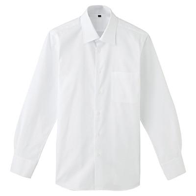 超長綿ピンオックスフォードセミワイドカラーシャツ 紳士・S・白
