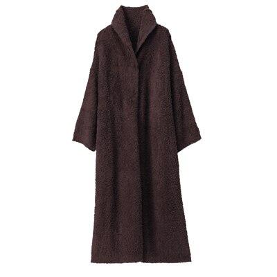 あたたかファイバーニットクッションにもなる着る毛布/ブラウン