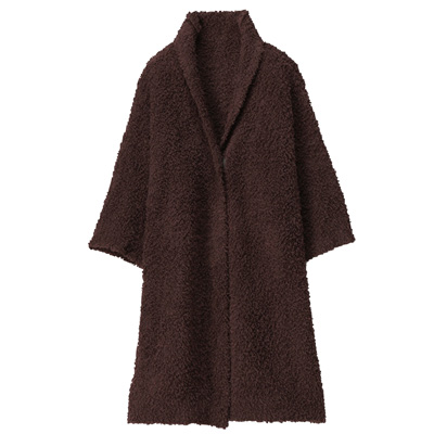 あたたかファイバーニットクッションにもなる着る毛布・子供用/ブラウン 着丈70cm・身長110cm以上