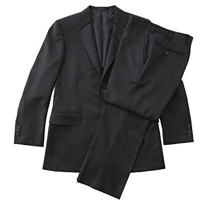 【店舗限定】日本の技術ウールストライプスーツ 紳士M・ネイビー