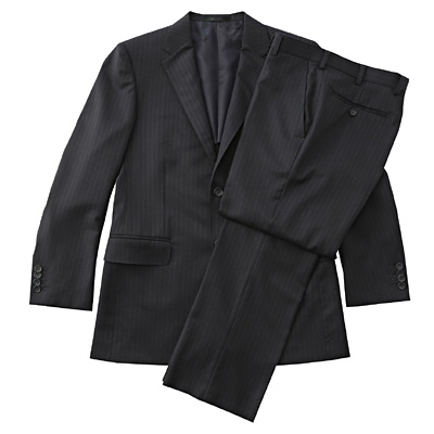 【店舗限定】日本の技術ウールストライプスーツ 紳士L・ネイビー