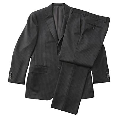【店舗限定】日本の技術ウールストライプスーツ 紳士L・チャコールグレー