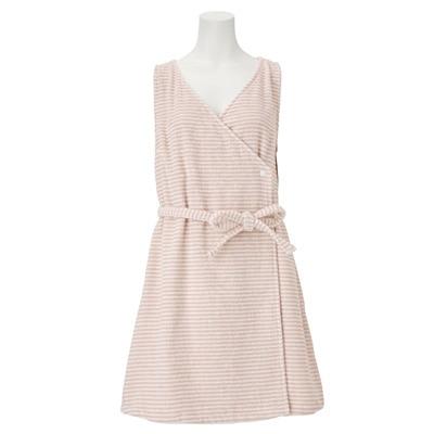 綿ボーダーワンピースローブ/ピンク/婦人M