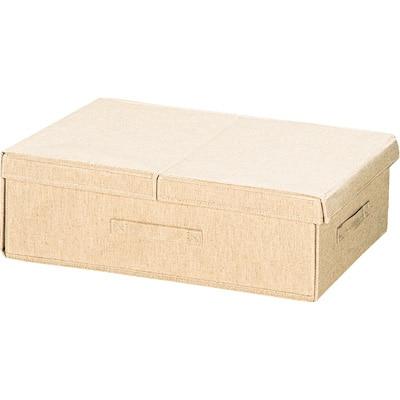 ポリエステル綿麻混布貼りベッド下収納ボックス 約幅39×奥行59×高さ18cm