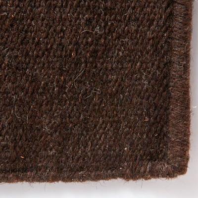ウール原毛色平織マット/ブラウン/50×80cm