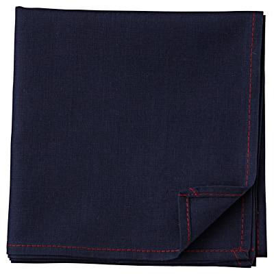 キャンブリックハンカチ/46×46cm、紺×赤
