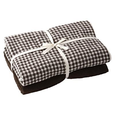 綿チェックバスタオル・スモールセット/ブラウン/60×120cm・2枚組