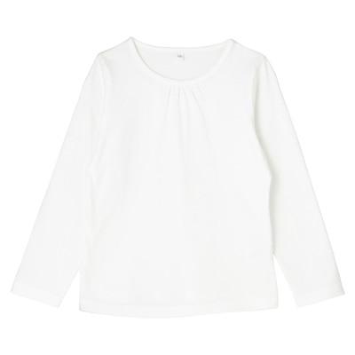 毎日のこども服ギャザー使い長袖Tシャツ トドラー110・オフ白