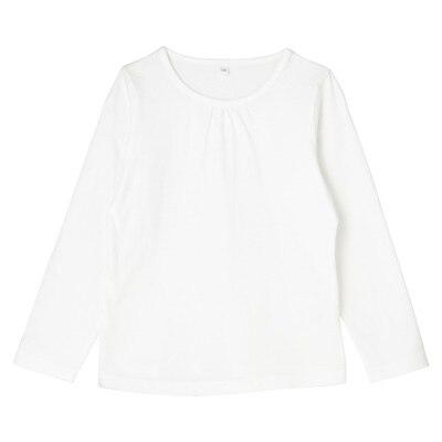 毎日のこども服ギャザー使い長袖Tシャツ トドラー120・オフ白