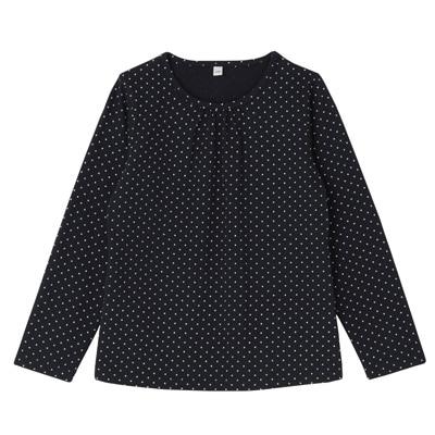 毎日のこども服ギャザー使い長袖Tシャツ トドラー110・ネイビー×柄