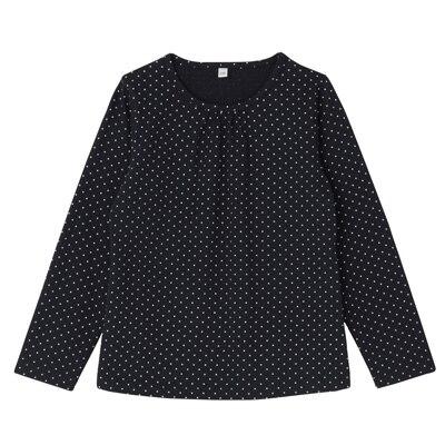 毎日のこども服ギャザー使い長袖Tシャツ トドラー120・ネイビー×柄