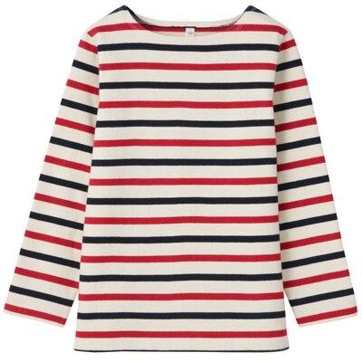 太番手長袖Tシャツ トドラー110・ネイビー×赤