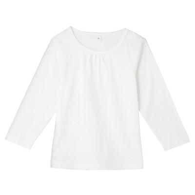 毎日のこども服ギャザー使い長袖Tシャツ ベビー90・オフ白
