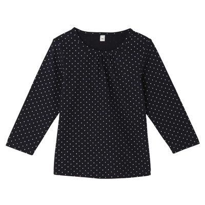 毎日のこども服ギャザー使い長袖Tシャツ ベビー80・ネイビー×柄