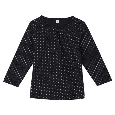 毎日のこども服ギャザー使い長袖Tシャツ ベビー90・ネイビー×柄