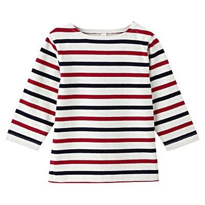 太番手長袖Tシャツ ベビー80・ネイビー×赤