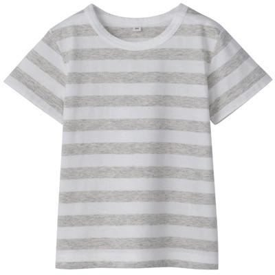毎日のこども服しましま半袖Tシャツ ベビー100・ライトグレー×ボーダー