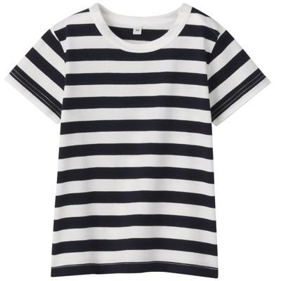 毎日のこども服しましま半袖Tシャツ ベビー80・ネイビー×ボーダー