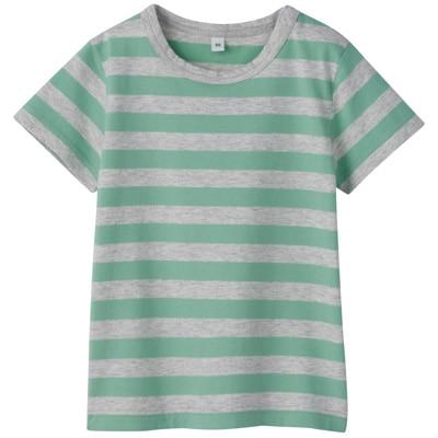 毎日のこども服しましま半袖Tシャツ ベビー90・ライムグリーン×ボーダー