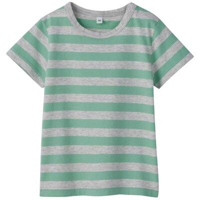 毎日のこども服しましま半袖Tシャツ ベビー100・ライムグリーン×ボーダー