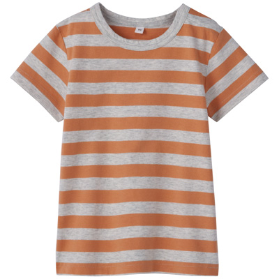 毎日のこども服しましま半袖Tシャツ ベビー100・アプリコット×ボーダー