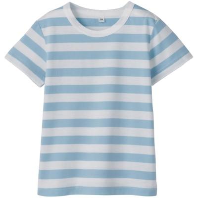 毎日のこども服しましま半袖Tシャツ ベビー90・サックスブルー×ボーダー