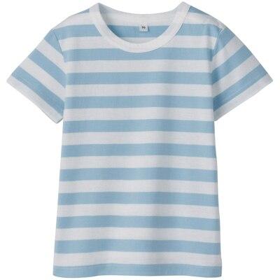毎日のこども服しましま半袖Tシャツ ベビー100・サックスブルー×ボーダー