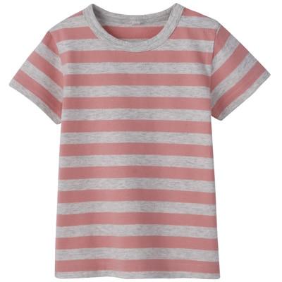 毎日のこども服しましま半袖Tシャツ ベビー90・ライトピンク×ボーダー