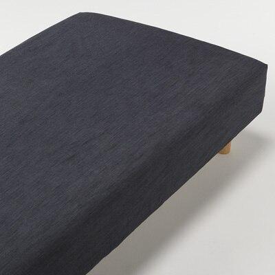 綿デニムボックスシーツ・SS/ネイビー 80×200×18~28cm用