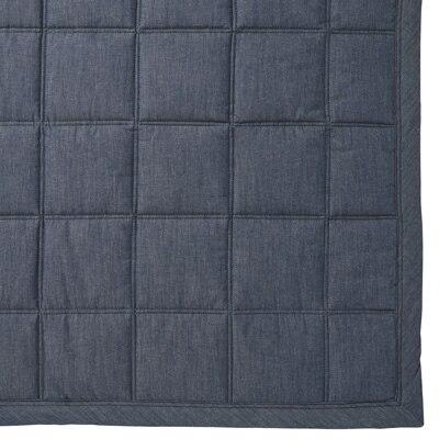 綿デニムキルティングラグ/ブルー こたつ下敷兼用・195×195cm
