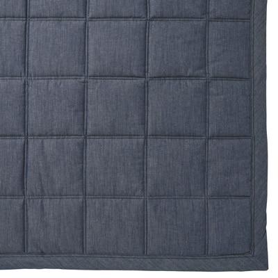 綿デニムキルティングラグ/ブルー こたつ下敷兼用・205×245cm
