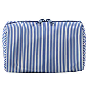 Polyester Wide-mouthed Pouch, Blue/White