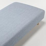 麻平織ボックスシーツ・SS/ブルー/80×200×18~28cm用の商品画像