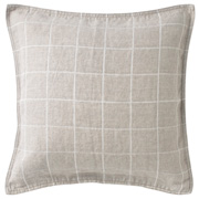 Washed Linen Twill Cushion Cover Ecru Check